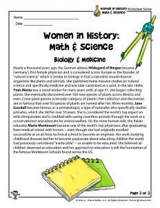 STEM Women in History Biology & Medicine Lesson Worksheet