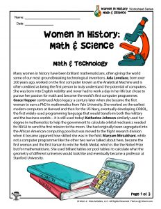 STEM Women in History Math & Technology Printable Worksheet