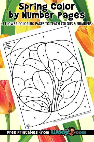Spring Color by Number Pages