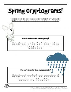 Spring Cryptogram Word Puzzle Game