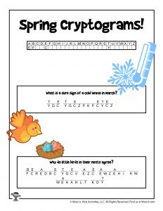 Spring Cryptogram Code Puzzle for Kids