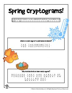 Spring Cryptogram Code Puzzle for Kids - KEY