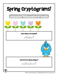 Spring Cryptogram Puzzle Game
