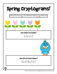 Spring Cryptogram Puzzle Game - ANSWER KEY