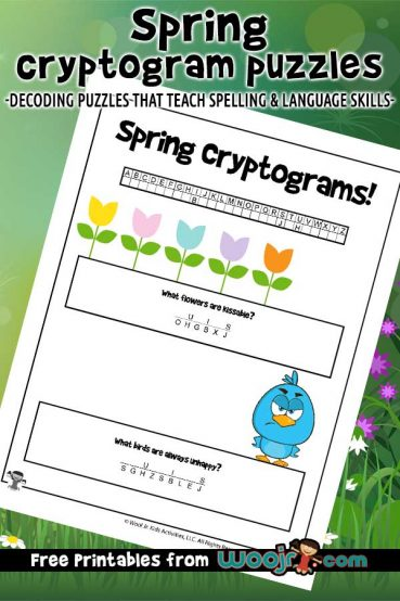 Spring Cryptogram Puzzles for Kids