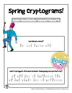 Printable Spring Cryptogram Puzzle