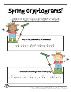 Spring Cryptogram Riddle Word Puzzle