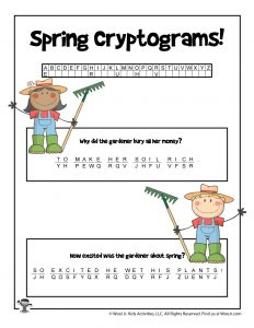 Spring Cryptogram Riddle Word Puzzle - KEY