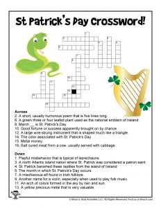 St. Patrick's Day Word Puzzle Crossword