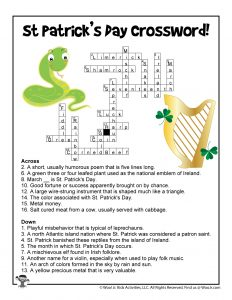 St. Patrick's Day Word Puzzle Crossword - KEY