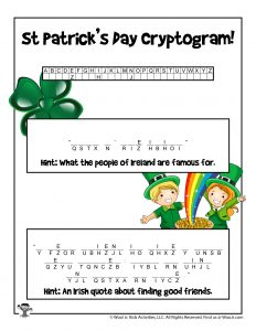 St. Patrick's Day Cryptogram Word Puzzle