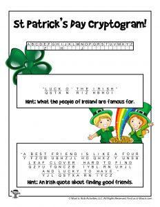 St. Patrick's Day Cryptogram Word Puzzle - KEY