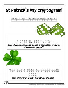 St. Patrick's Day Word Puzzle - ANSWER KEY