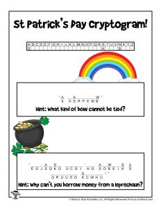 St. Patrick's Day Word Puzzle Cryptogram