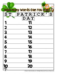 St. Patty's Day Word Maker Word Puzzle