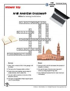 Arab American Crossword for Kids - KEY