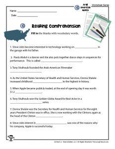 Arab American Reading Comprehension Worksheet