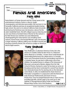 Arab American Heritage Month Worksheets