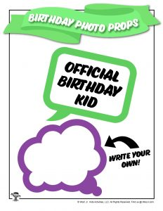 Birthday Party Printable Word Bubble