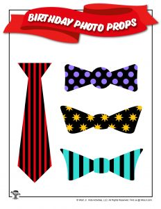 Birthday Printable Bowties Photo Stick