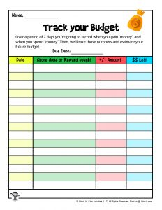 Budget tracker for a Printable Reward System for Kids