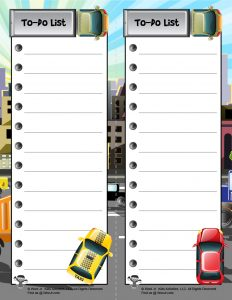 Cars and Trucks Printable Checklist