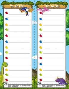 Dinosaur Printable To Do List for Kids