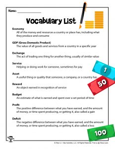 Economy vocabulary words for kids