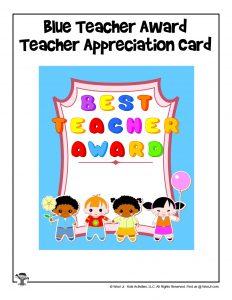 Best Teacher Award Printable Card