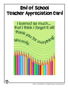 Free End of School Teacher Appreciation Gift