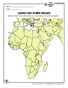 Map to Locate Arabic Nations