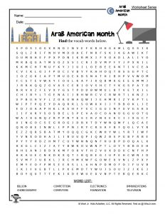 Arab American Heritage Word Search Puzzle for Kids