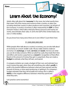 Teach Economics to Kids with this worksheet