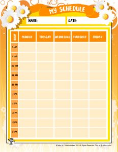 Flower Printable Weekly Schedule
