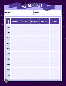 Printable Purple Planner Schedule