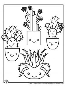 Adorable Succulents Coloring Page