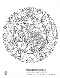 Bird Mandala Adult Coloring Page