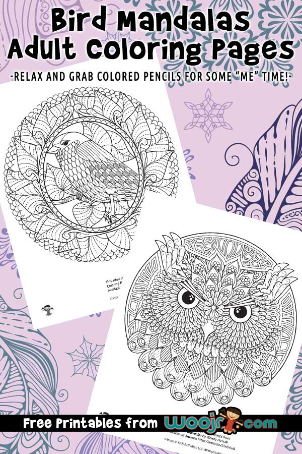 Bird Mandalas Adult Coloring Pages