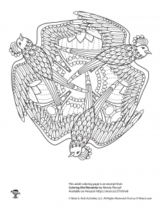 Bird Mandala Adult Coloring Printable