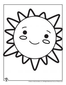 Cute Sun Coloring Page for Kids