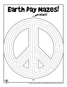 Earth Day Peace Sign Printable Maze
