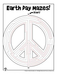 Earth Day Peace Sign Printable Maze - KEY