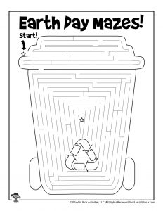 Recycled Cup Earth Day Maze Worksheet for Kids