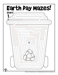 Recycled Cup Earth Day Maze Worksheet for Kids - KEY