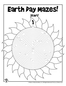 Solar Power Earth Day Maze Activity Page
