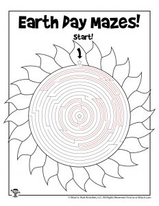 Solar Power Earth Day Maze Activity Page - KEY