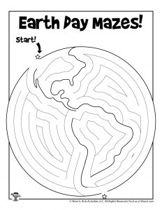 Printable Earth Day Maze for Kids