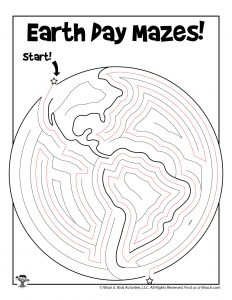 Printable Earth Day Maze for Kids - KEY