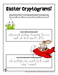 Easter Cryptogram Word Puzzle Game