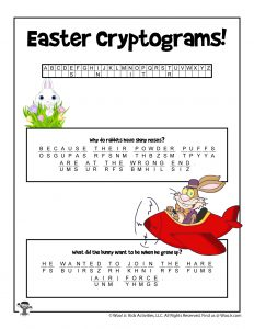Easter Cryptogram Word Puzzle Game - KEY